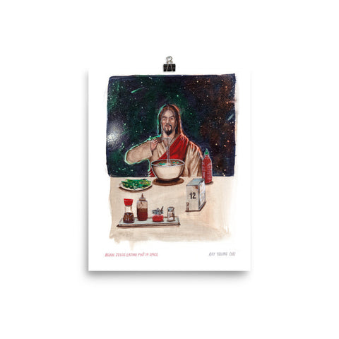 Asian Jesus Eating Phở in Space Print