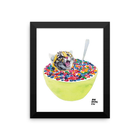 Cereal Killer Tiger Cub Framed Print
