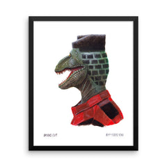 Dino Bricks Cut Framed Print