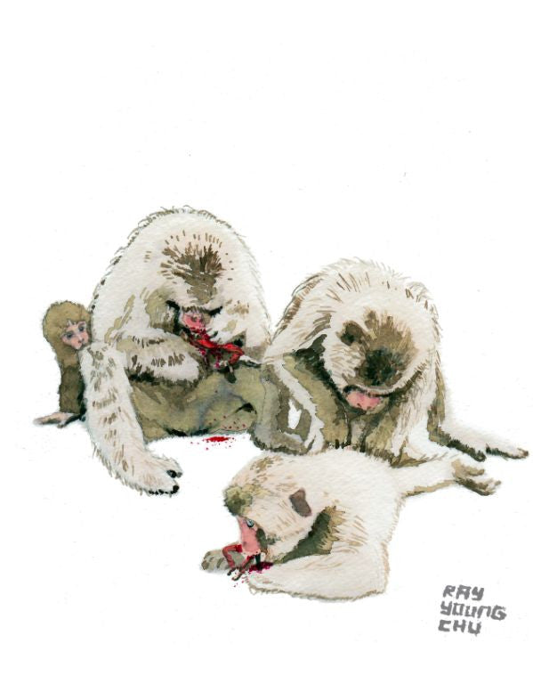 "Monkeys Eating Red Karate Guys 8.5 x 11"" Print"