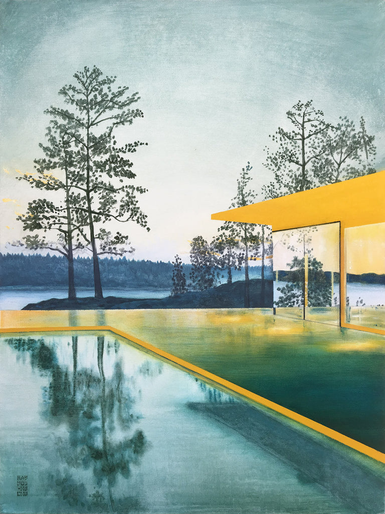 Yellow House with Pool Original Painting