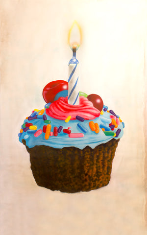Sprinkled Cupcake with Candle Original Painting (60 x 72 in)