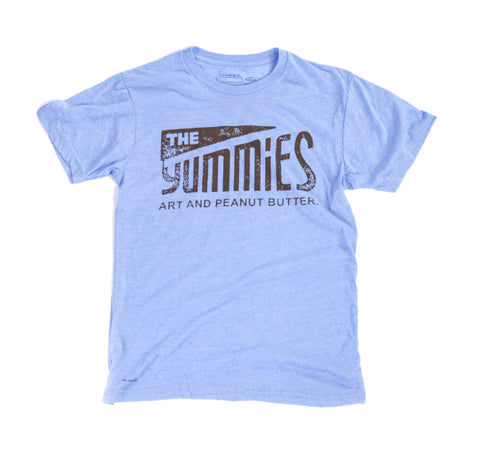 The Yummies Brown Logo on Blue Men Shirt