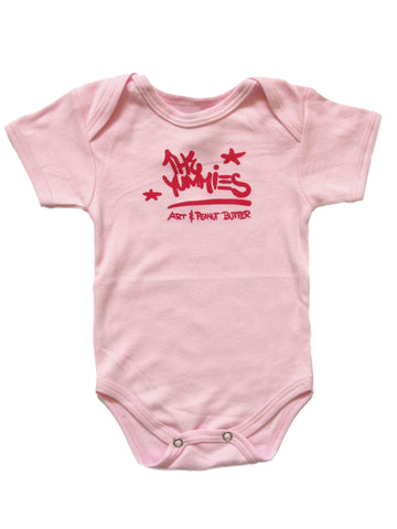 The Yummies Blob Tag Red on Pink Baby Shirt