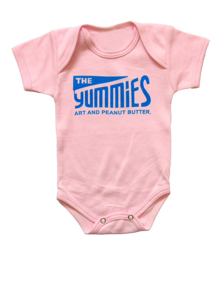 The Yummies Blue Logo on Pink Baby Shirt