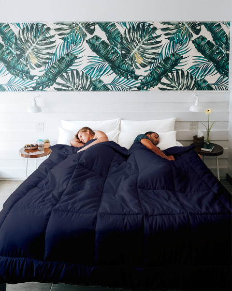 Alternative Down His and Her Duvet Insert Keeps Everyone Comfortable S/öMN K/ömforte Dual Zone Comforter for Couples White, King Hypoallergenic Machine Washable Two Temperature Comforter