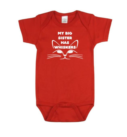 My Big Sister Has Whiskers Baby Bodysuit - customgiftstore.com