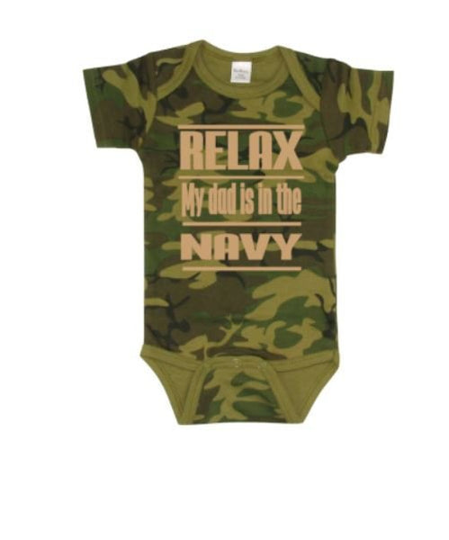 Relax My Dad Is In The Navy Baby Bodysuit - customgiftstore.com