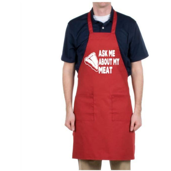 Ask Me About My Meat Apron | Aprons | Funny Apron | Gift For Dad | Gift Apron | Gift Aprons | Chef Apron | Grilling Apron | Cook Apron - customgiftstore.com