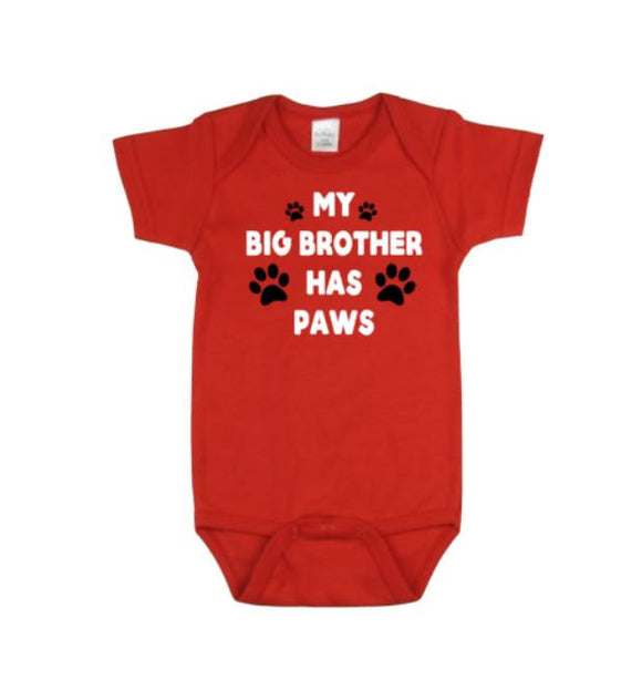 My Big Brother Has Paws Baby Boduitsuit | Baby Bodysuits | Dog Lovers Bodysuit | dog bodysuit | Big Brother has Paws Bodysuit | Baby Outfit
