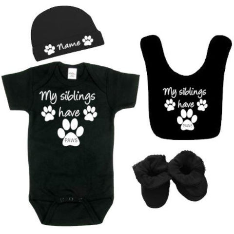 My Siblings Have Paws Outfit | Baby Bodysuit | Baby Hat | Baby Booties | Baby Bib | Baby Clothing Sets | Baby Bodysuits | Baby Bodysuits