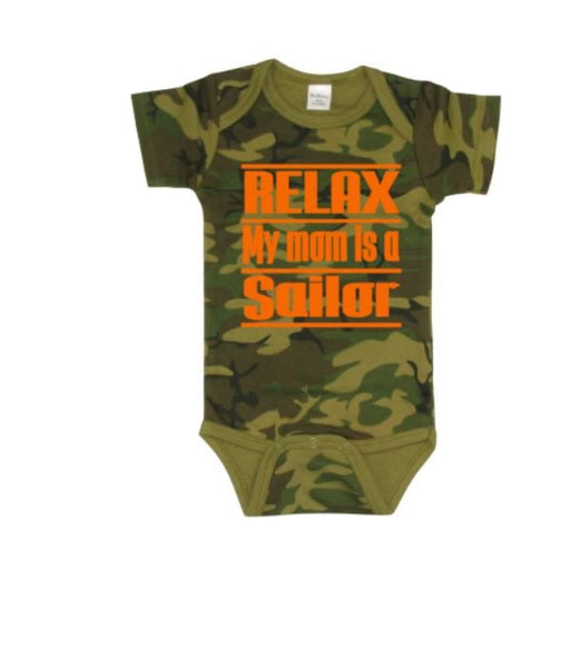 Relax My Mom Is A Sailor Baby Bodysuit - customgiftstore.com