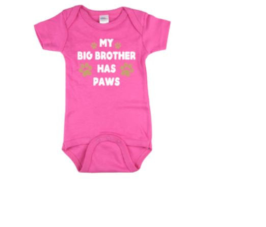 My Big Brother Has Paws Baby Bodysuit | Dog Baby Bodysuit | Baby Dog Bodysuit | Baby Clothing | Bodysuit | Baby Shower | Baby One piece |