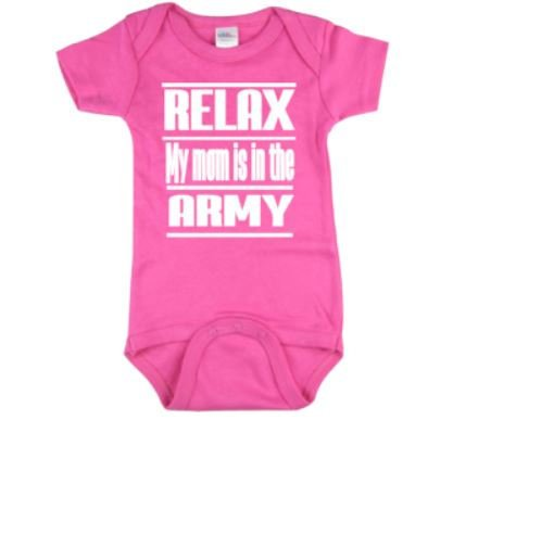 Relax My Mom Is In The Army Baby Bodysuit | Army Baby Bodysuits | Baby One Piece | Bodysuit | Army Bodysuit | Bodysuits | Baby Clothing |