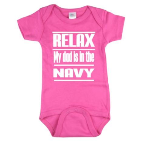 Relax My Dad Is In The Navy Baby Bodysuit | Baby Bodysuits | Baby One Piece | Bodysuit | Navy Bodysuit | Baby Clothing | Navy Babies | baby