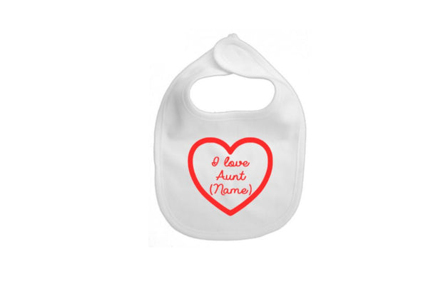 I Love Aunt (Name) Baby Bibs - customgiftstore.com