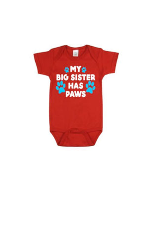 My Big Sister Has Paws Baby Bodysuit - customgiftstore.com