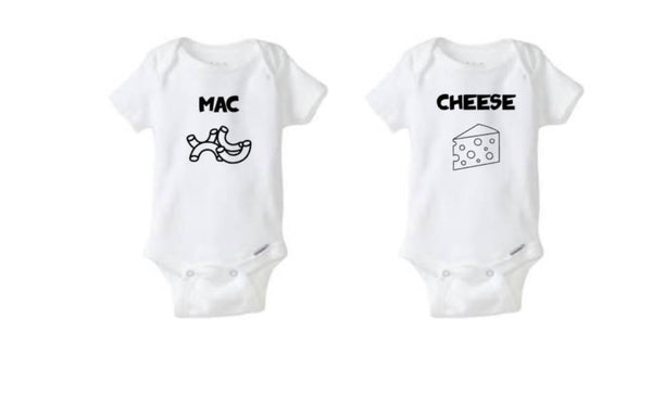 Mac And Cheese Twin Bodysuits - customgiftstore.com
