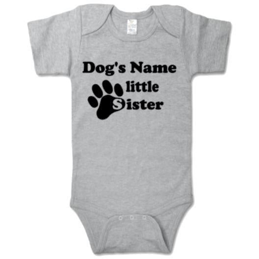 Dog's Name Little Sister Bodysuit - customgiftstore.com