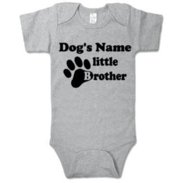Dog's Name Little Brother Bodysuit - customgiftstore.com