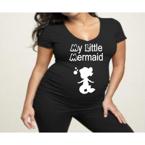 My Little Mermaid Maternity shirt | Maternity Shirts | Pregnancy Shirt | V-neck Maternity Shirt | Crew Neck Maternity Shirt| Funny Pregnancy