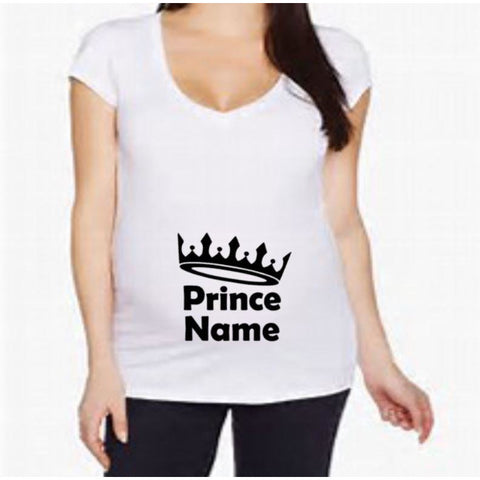 Prince Name Maternity shirt | Maternity Shirts | Pregnancy Shirt | V-neck Maternity Shirt | Crew Neck Maternity Shirt | Funny Pregnancy