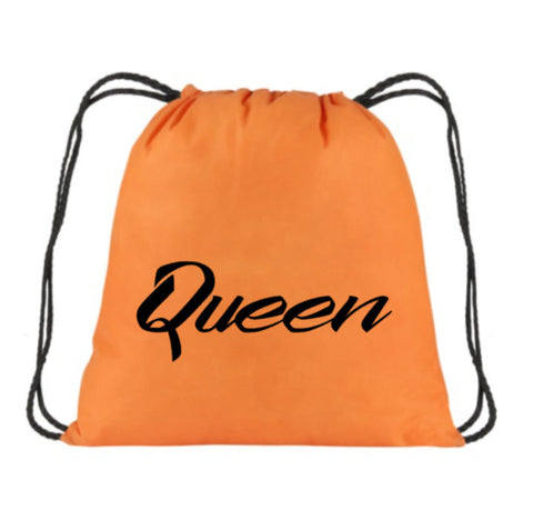 Queen Back pack | Beach Bag | Funny Drawstring Bookbag | Draw String bag | Birthday Bookbag | Vacation Bookbag | Drawstring Backpack