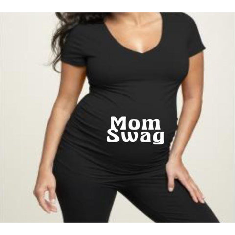 Mom Swag Maternity shirt | Maternity Shirts | Pregnancy Shirt | V-neck Maternity Shirt | Crew Neck Maternity Shirt| Funny Pregnancy