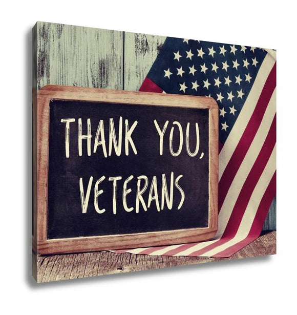 Gallery Wrapped Canvas, The Text Thank You Veterans Written In A Chalkboard And A Flag Of The United - customgiftstore.com