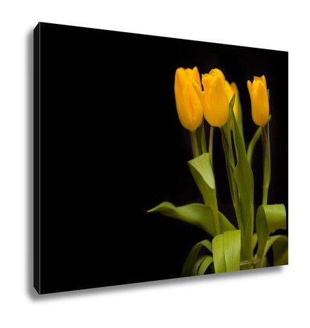 Gallery Wrapped Canvas, Yellow Tulips On A Dark - customgiftstore.com