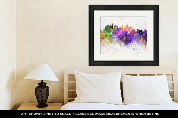 Framed Print, Houston Skyline In Watercolor - customgiftstore.com