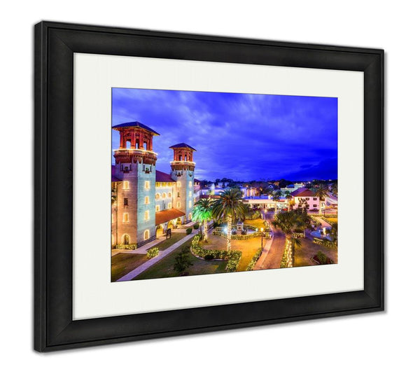 Framed Print, St Augustine Florida USA Townscape Over Alcazar Courtyard - customgiftstore.com