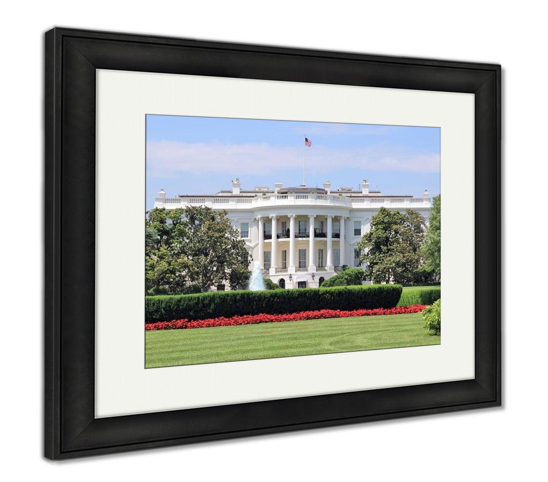 Framed Print, White House From South Lawn On Summer Day Flowers And Fountain Truman - customgiftstore.com