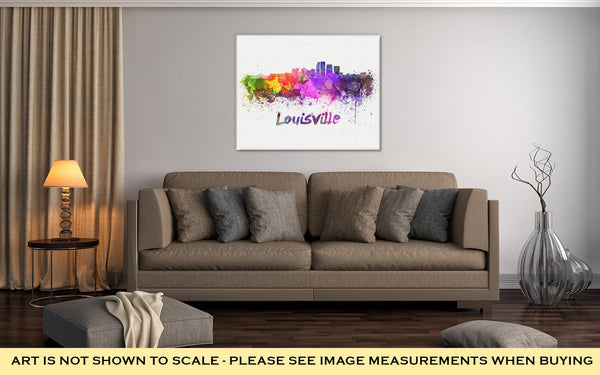 Gallery Wrapped Canvas, Louisville Skyline In Watercolor - customgiftstore.com