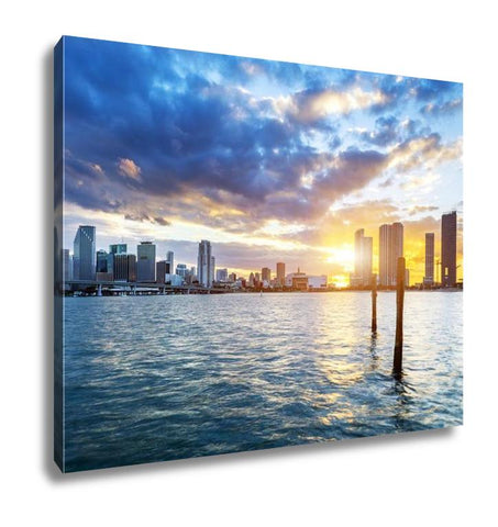 Gallery Wrapped Canvas, Miami City By Night - customgiftstore.com