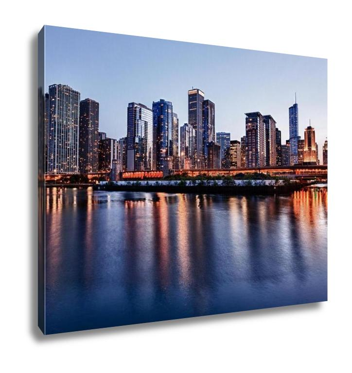 Gallery Wrapped Canvas, Sunset Over Chicago From Navy Pier - customgiftstore.com