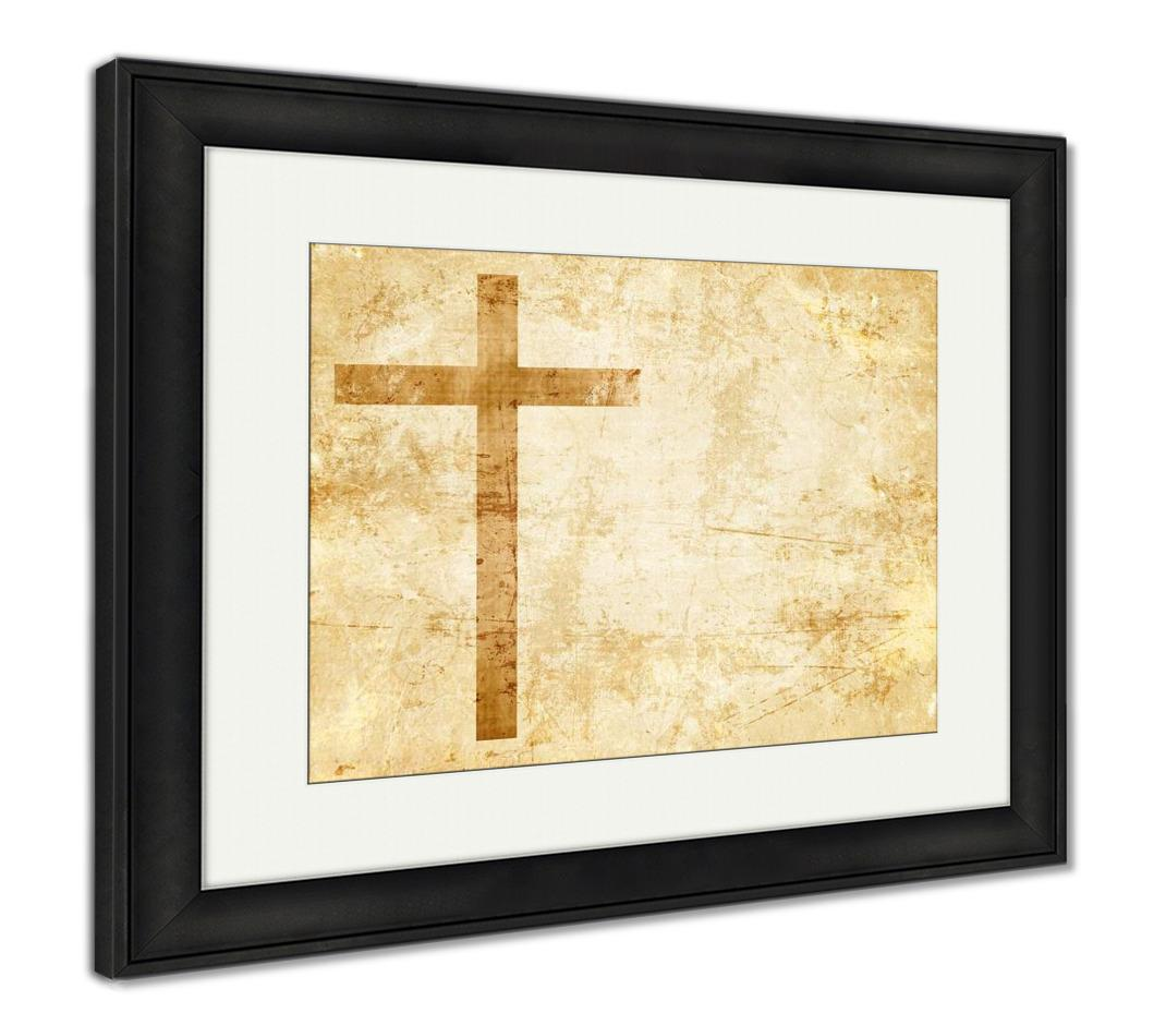 Framed Print, Old Faithful Cross On Parchment - customgiftstore.com