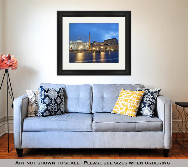 Framed Print, Colosseum Rome Vatican Place Saint Peter Cathedral At Night - customgiftstore.com