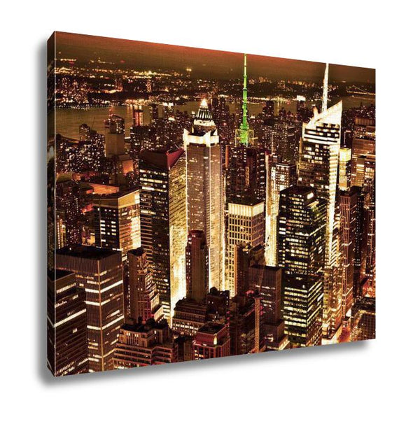 Gallery Wrapped Canvas, New York Sunset Skyline Taken From The Empire State Building Gold Filter - customgiftstore.com