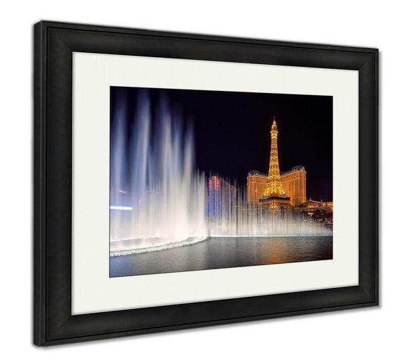 Framed Print, Las Vegas March 26 View Dancing Bellagio Fountains In Front Of The Paris Hotel - customgiftstore.com