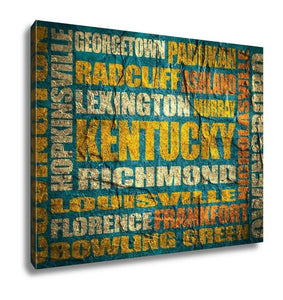 Gallery Wrapped Canvas, Kentucky State Cities List - customgiftstore.com