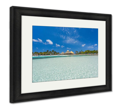 Framed Print, Flamingo Beach At Aruba Renaissance Aruba Private Island - customgiftstore.com