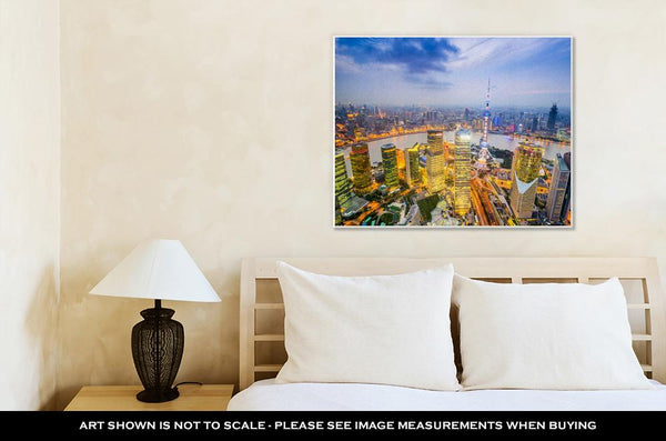 Gallery Wrapped Canvas, Shanghai China City Skyline Over The Pudong Financial District - customgiftstore.com