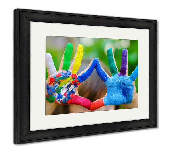 Framed Print, Painted Colorful Hands - customgiftstore.com