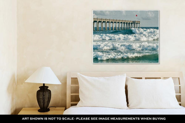 Gallery Wrapped Canvas, Surfs Up At Pensacola Beach Fishing Pier - customgiftstore.com