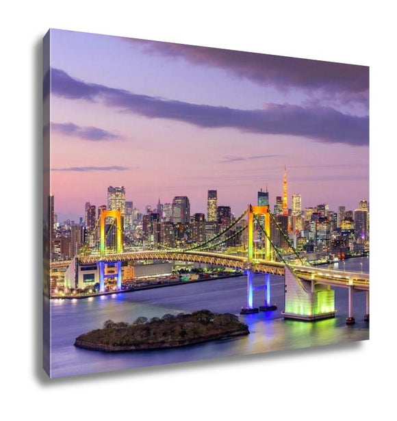 Gallery Wrapped Canvas, Tokyo Japan Skyline With Rainbow Bridge And Tokyo Tower - customgiftstore.com