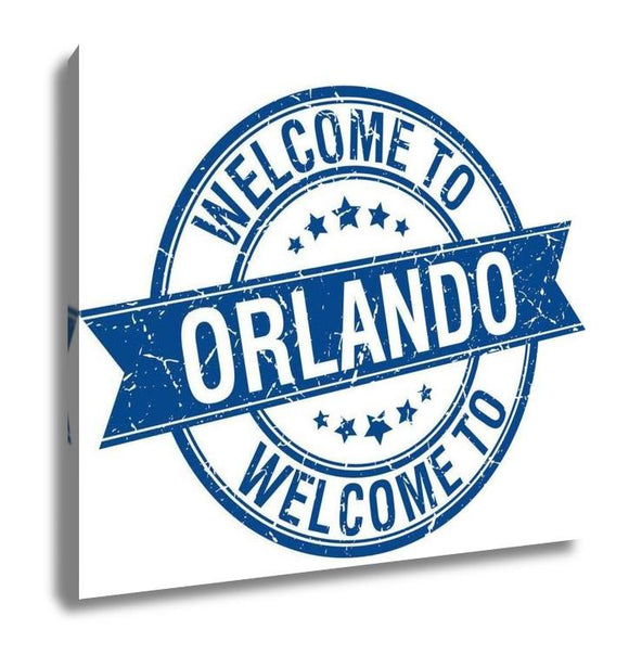 Gallery Wrapped Canvas, Welcome To Orlando Blue Round Ribbon Stamp - customgiftstore.com