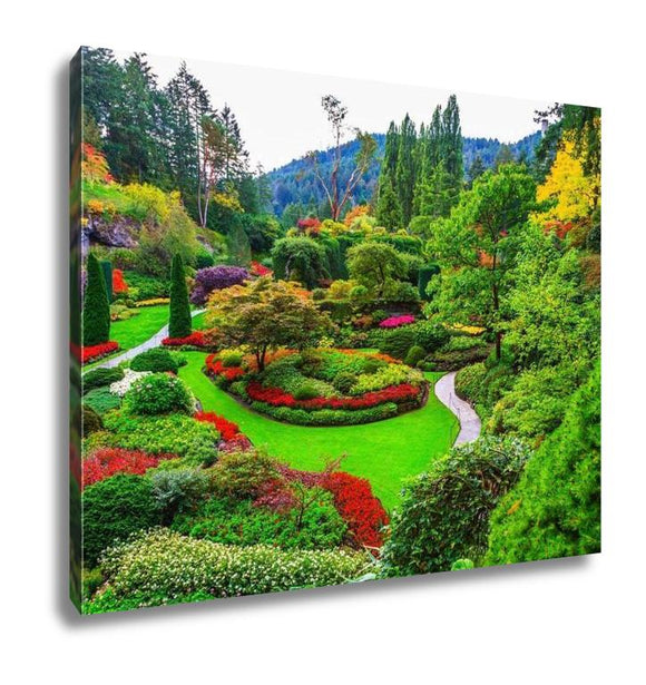 Gallery Wrapped Canvas, Butchart Gardens Gardens On Vancouver Island Flower Beds - customgiftstore.com