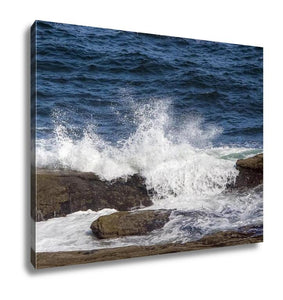 Gallery Wrapped Canvas, Ocean Waves Splash Over Rocks On Maines Coast Near Pemaquid Point - customgiftstore.com