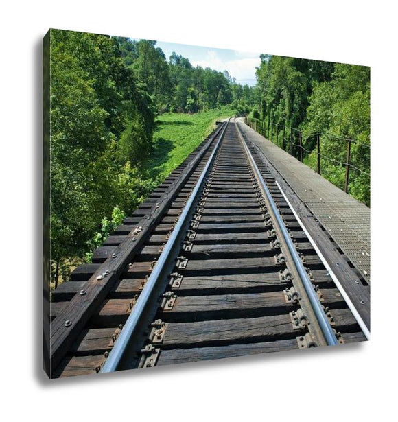 Gallery Wrapped Canvas, Train Tracks On The Horizon - customgiftstore.com